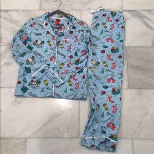 Target Kitten Knitting Flannel PJ's XS